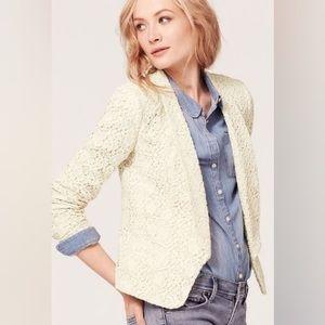 NWT LOFT Cream Lace Romantic Cotton Blazer